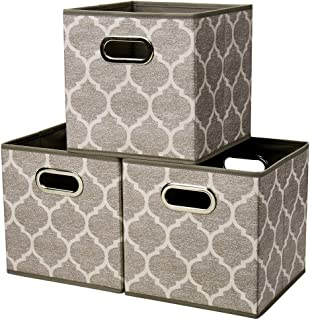 Collapsible Cloth Cubes Storage Bins Baskets Boxes Medal Pattern 10.5 x 10.5 x 11 Inches Brown - Pack of 3 ,QY-SC08-3