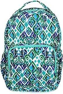 Ikat Blue Green Diamonds 10 x 18 Inch Polyester Zippered Backpack