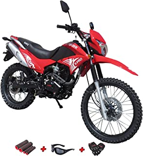 X-Pro 250 Dirt Bike Motorcycle Bike Hawk 250 Dirt Bike Enduro Street Bike Motorcycle Bike with Gloves, Sunglasses and Handgrip (Red)