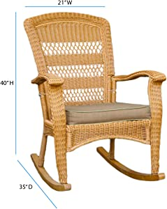 Tortuga Outdoor Portside Plantation 3pc Rocking Chair Set - White, Dark Roast and Amber Wicker with Cushions (Amber)