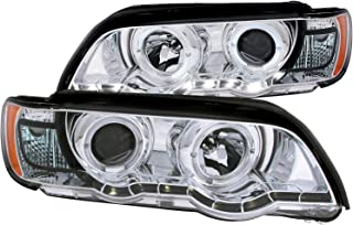 Anzo USA 121397 Chrome Halo Projector Headlight with Clear Lens and Amber Reflector for BMW X5 E53