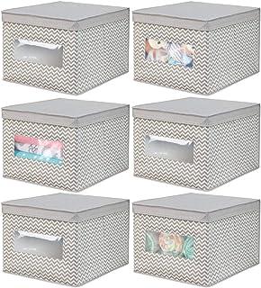 mDesign boîte de rangement au motif zigzag (lot de 6) – grand panier de rangement en fibre synthétique respirable – bac de...