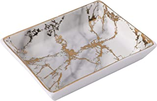 Nordic Golden Striped Marble Plate - Ceramic Jewelry Tray, Ring Holder, Bracelets Plate, Dessert Dish - Perfect for Holding Small Jewelries, Rings, Necklaces, Earrings, Bracelets, Cosmetics, etc.