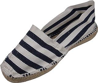 Alpargatus–Espadrillas piatte a righe, da donna, colore: Blu Navy/bianco