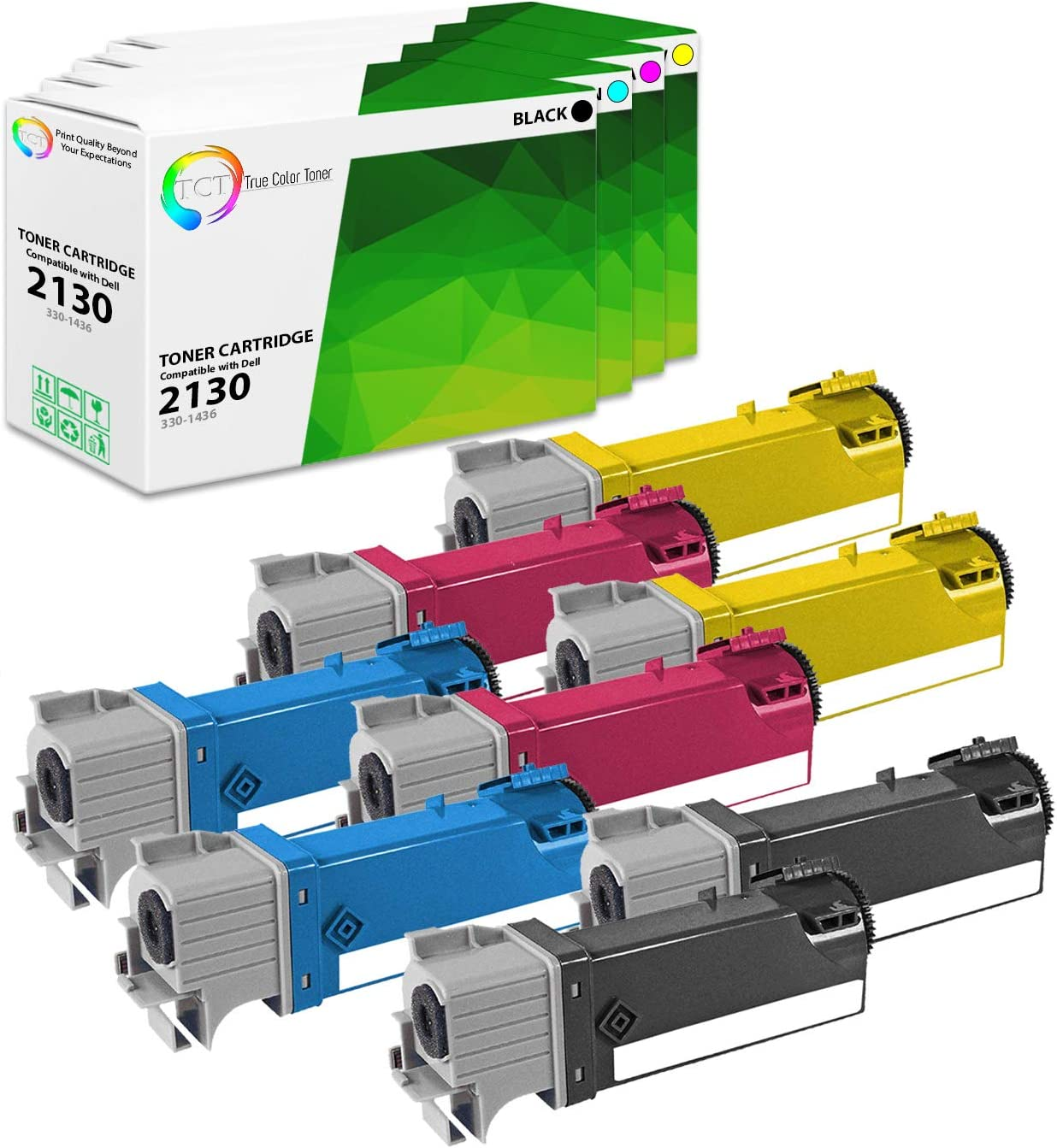 TCT Premium Compatible Toner Cartridge Replacement for Dell 2130CN 2135CN Printers (Black 330-1436, Cyan 330-1437, Magenta 330-1433, Yellow 330-1438) - 8 Pack