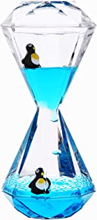 Liquid Motion Bubbler Timer / Floating Marine Life Sea Creatures, Diamond Shaped Liquid Timer For Fidget Toy,Autism Toys , Children Activity, Calm Relaxing ,Penguin Desk Toys and Home Ornament