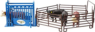 Little Buster Toys 1/16 Working Cattle Chute Set (Blue Cattle Chute, 4 Brown Priefert Fence Panels & Gate)