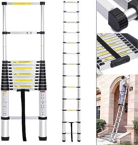 high quality Aluminum Telescoping Extension Ladder Lightweight Portable lowest 10.5ft Non-Slip popular 11 Steps Loft RV Ladder outlet online sale