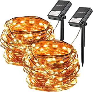 2 Pack Solar String Lights, 33ft 100 Led Solar and Battery Powered Outdoor String Lights Waterproof Fairy Lights with 8 Mo...