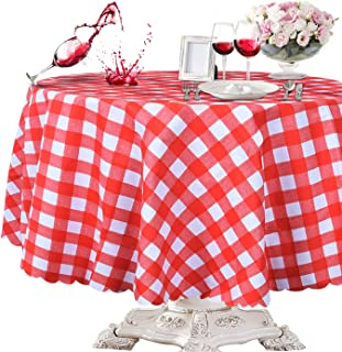 OUWIN 100% Waterproof Round Tablecloth Spill-Proof Wipeable PVC Vinyl Table Cover Indoor Outdoor Picnic Table Cloth (54