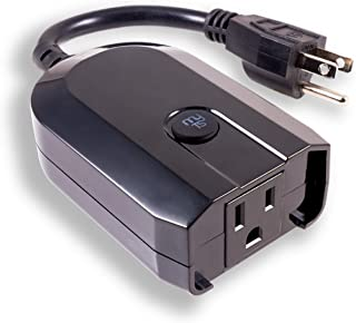 افزونه در فضای باز سوئیچ هوشمند WiFi myTouchSmart ، با الکسا ، دستیار Google ، مقاوم در برابر آب و هوا ، استفاده سالانه ، کنترل روشنایی روشن / خاموش ، بدون نیاز به توپی ، مشکی ، 39845 کار می کند