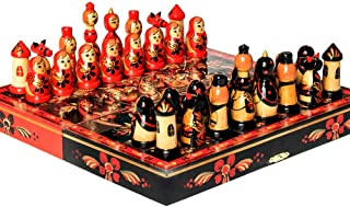 Games for Teens Handmade Russian Games for Kids and Adults Hand-Painted Matryoshka Khokhloma Chess 11.4x11.4-inch