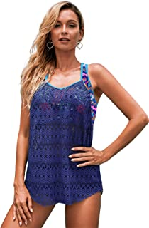 Dokotoo Womens Strappy Printed Racerback Lace Patchwork Vest Tankini Swimsuit Tops No Bottom