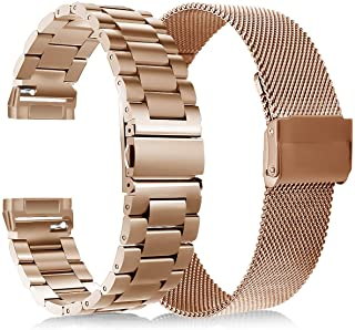 KOREDA Compatible with Fitbit Versa 3/Fitbit Sense Bands Sets for Women Men, Stainless Steel Metal Band + Mesh Loop Replac...