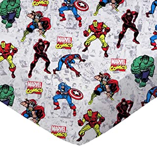 SheetWorld 100% Cotton Percale Extra Deep Fitted Portable Mini Crib Sheet 24 x 38 x 5.5, Marvel Comics, Made in USA