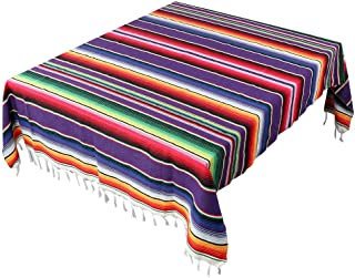 AerWo 59 x 98 Inch Day of The Dead Mexican Tablecloth Mexican Serape Blanket for Mexican Party Wedding Fiesta Decorations Outdoor Picnics Dining Table, Dia De Los Muertos Decorations
