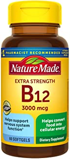 Nature Made Extra Strength Vitamin B12 3000 mcg Softgels, 60 Count (Packaging May Vary)