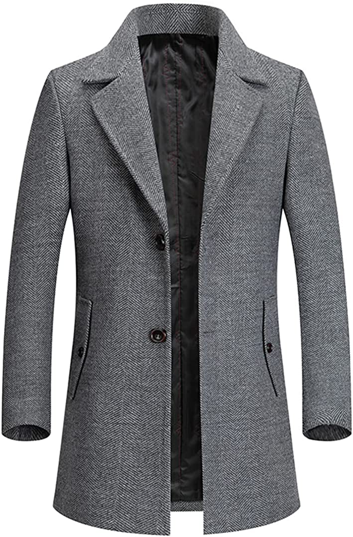 Turn Down Collar Blends Coat Male Slim Fit Trench Jacket Wool Windbreaker