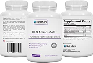 #1 Rated RLS Amino-MAG Advanced Restless Leg Supplement Pharma Grade Chelated Magnesium Designed for Maximum Absorption Two Month Supply! 60 Organic Capsules Made in USA!