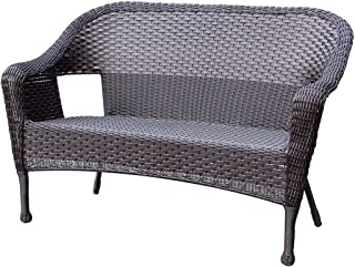 Jeco W00402-L Resin Wicker Clark Loveseat, Espresso