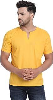 SKAVIJ Men's Cotton V-Neck Short Kurta Shirt Regular Fit