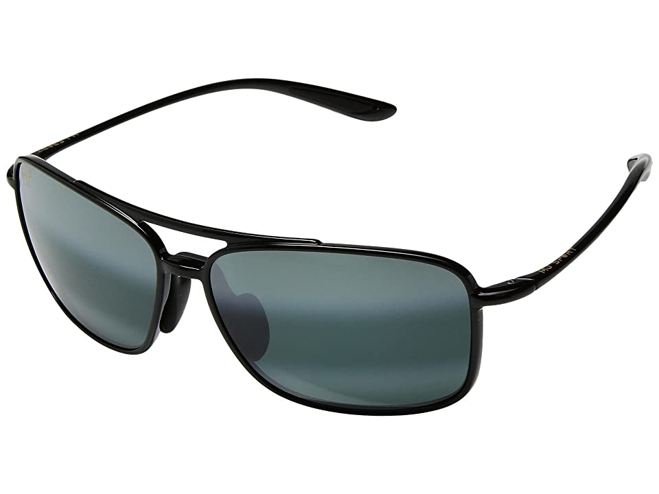 Maui Jim Kaupo Gap (Gloss Black/Neutral Grey) Athletic Performance Sport Sunglasses