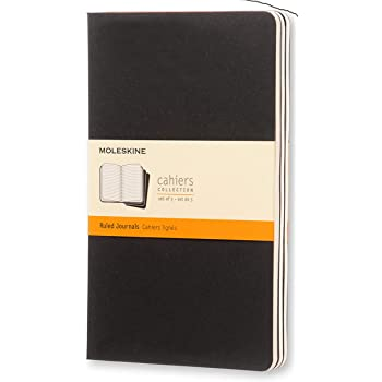 "Moleskine Cahier Journal, Soft Cover, Large (5"" x 8.25"") Ruled/Lined, Black, 80 Pages (Set of 3)"
