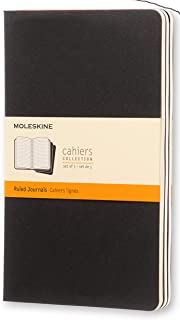 Moleskine Cahier Notebook - Set of 3 - Ruled - Large - Black, (QP316)