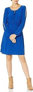 فستان طويل للنساء من Star Vixen بأكمام طويلة ورباط خصر مرن وفتحة مفتاح من الأمام Ity Knit Peasant