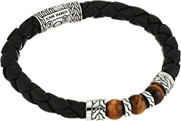 Classic Chain Bracelet on 8 mm. Black Leather with 8 mm. Tiger Eye Beads