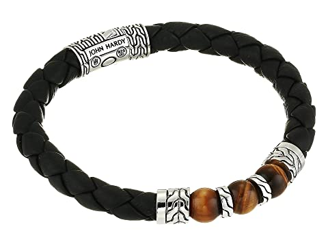 John Hardy Classic Chain Bracelet on 8 mm. Black Leather with 8 mm. Tiger Eye Beads