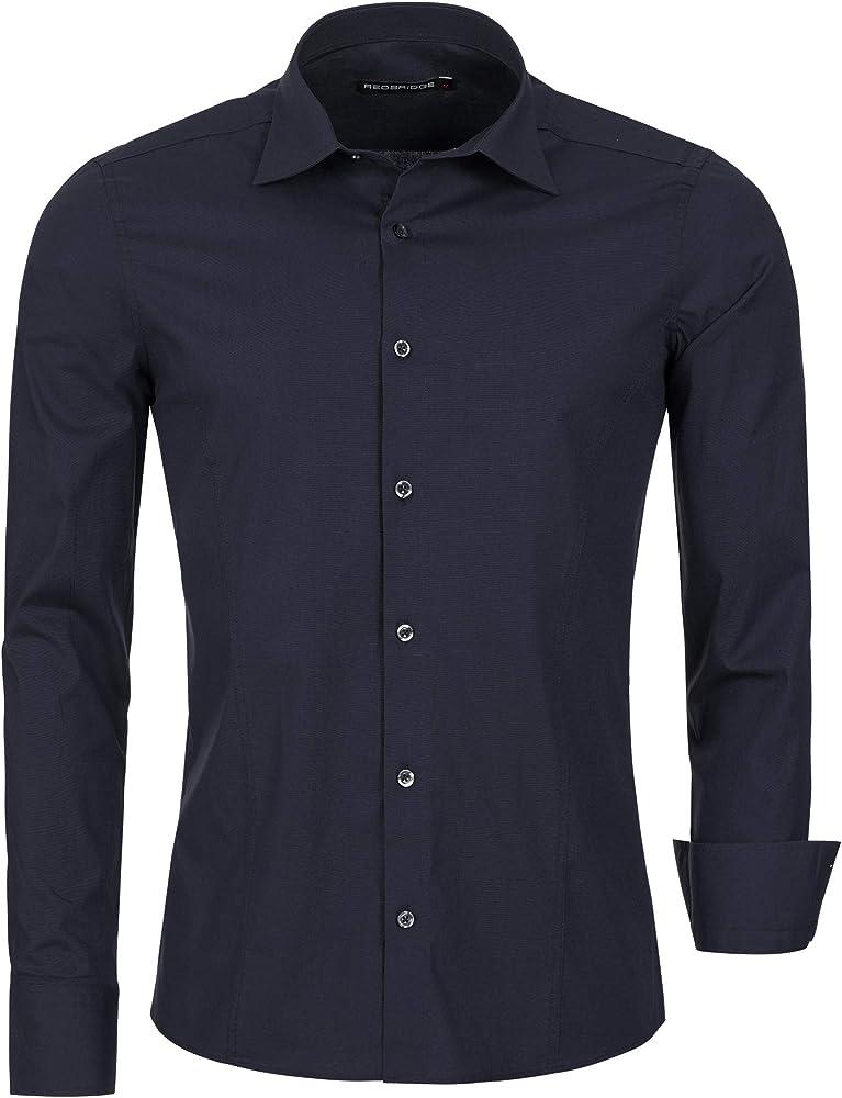 Redbridge, camicia per uomo, 97% cotone, 3% elastan, blu R-2111H