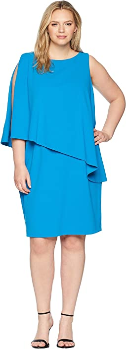 Plus Size 130H Luxe Scuba Crepe Cooper One Shoulder Day Dress