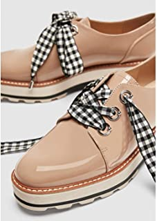 1a65c0b499ec Zara Womens Shoes Sz 9 Derby Nude Gingham Tie NWT Ref 1516/301