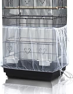ASOCEA Universal Birdcage Cover Seed Catcher Nylon Mesh Parrot Cage Skirt- White