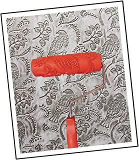 Prettyia Patterned Paint Roller Decorative Texture Roller with Single Color Painting Machine Embossed Plastic Handle Wall ...