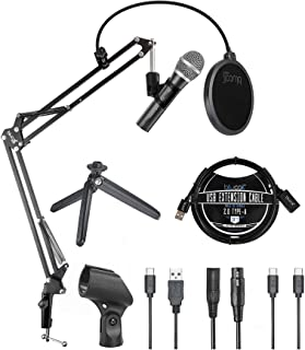 Audio Technica ATR2100x-USB Cardioid Dynamic Microphone for Voiceover, Podcasting and Studio Recording Bundle with Blucoil...