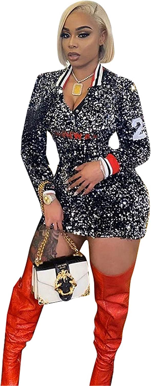 Hotheart Ranking Finally resale start TOP5 Womens Sexy Lapel Long Sequins Packag Embroidery Sleeve