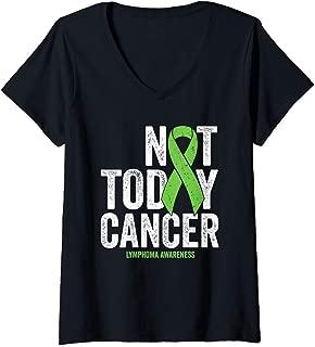 Womens Non Hodgkins Lymphoma Not Today Lime Green Awareness Ribbon V-Neck T-Shirt