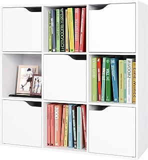 Meuble Cubes Bibliothèque Salon Rangement avec 9 Casiers 5 Portes 90x29x90cm Blanc