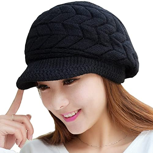 Loritta Womens Winter Warm Knitted Hats Slouchy Wool Beanie Hat Cap with  Visor b0642ce1db0