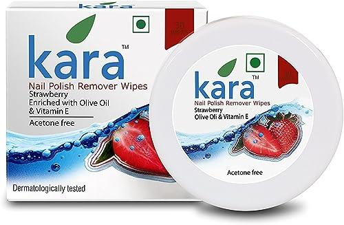 Kara Wipes Nail Polish Remover With Vitamin Removes Nail Polish, Strawberry (30 Pulls) x (Pack Of 2)