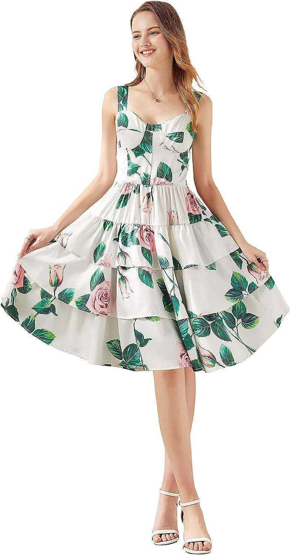DOVWOER Women's Summer Sling Beach Sundress Printe Floral 送料込 流行のアイテム Casual