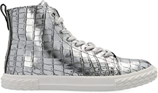 Luxury Fashion | Giuseppe Zanotti Design Men RU90035004 Silver Leather Hi Top Sneakers | Spring-summer 20