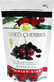 Dried Dark Sweet Cherries, 8oz bag, No Added Sugar, Sunrise Fresh Dried Fruit Co.