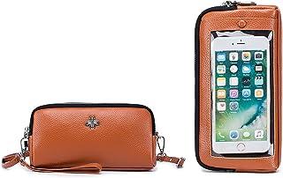 HAIWILL Handy Umhängetasche Damen Echtes Leder Touchscreen Handytasche zum Umhängen Klein Schultertasche Retro Crossbody F...