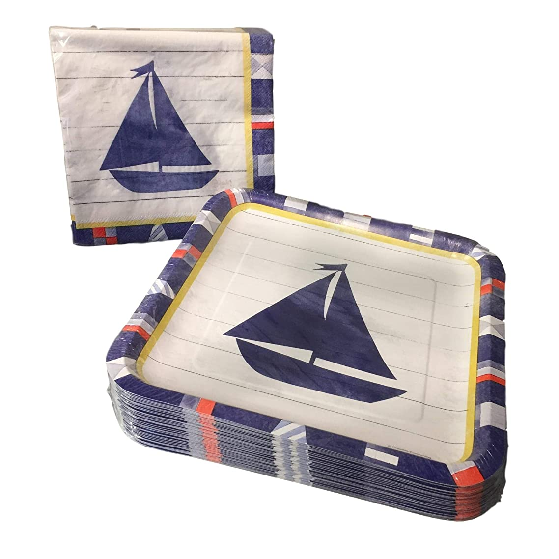 Nautical Sailboat Napkin and Paper Plate Bundle - 50 Count