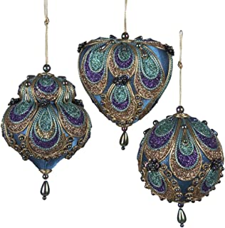 """Kurt Adler 3-3.5"""" Aqua Satin Fabric with Gold, Purple and Green Glitters Tornasol Beads with Rayon Cord Hanging Ornaments:..."""
