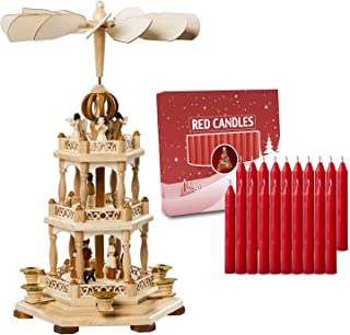German Christmas Decoration Pyramid-18 Inches-with 20pcs Red Candles Included-Wood Nativity Scene -Christmas and Tabletop Holiday Decor-3 Tiers Carousel-6 Candle Holders-German Design (Natural)
