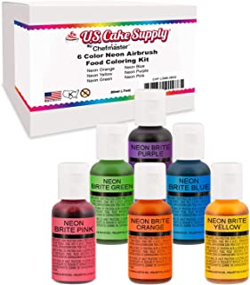 6 Color Cake Food Coloring Liqua-Gel Decorating Baking Neon Colors Set - U.S. Cake Supply .75 fl. Oz. (20ml) Bottles Neon Colors - Made in the U.S.A.